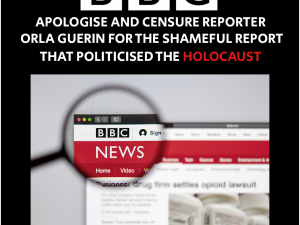BBC! Apologise and censure reporter Orla Guerin for this shameful report.